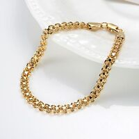 "Women Bracelet 8""Link Unique Chain 18k Yellow Gold Filled Fashion Jewelry"