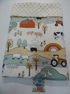 Baby Blanket Farm 80cm x 60cm  Minkee Dot Back