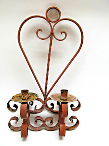Vintage Rustic Heavy Wrought Iron Candle Wall Sconce