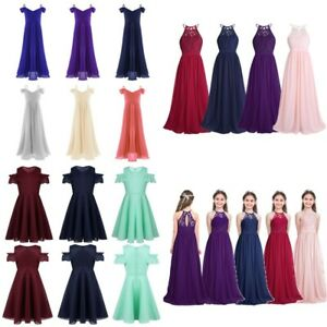 Kids Girls Chiffon Flower Dress Princess Pageant Wedding Bridesmaid Prom Maxi