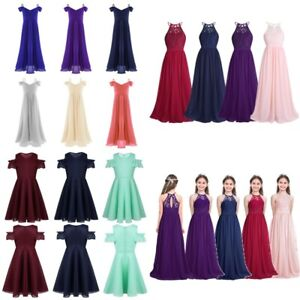 Kids Girls Chiffon Flower Dress Princess Pageant Wedding Bridesmaid Prom Maxi