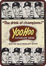 1964 Yogi Berra Mickey mantle Yoo-Hoo Reproduction Metal Sign tin 8 x 12