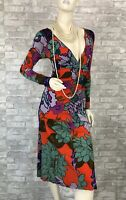 Etro New Red Green Purple Stretch Floral Ruched Dress 4 US 40 IT S Runway Auth