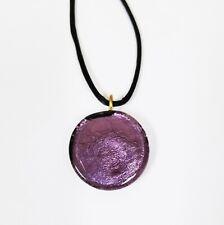100% MURANO ART GLASS PURPLE ROUND,CIRCLE SHAPE PENDANT+BLACK CORD NECKLACE