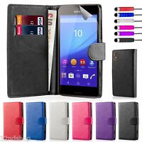 32nd Book Wallet PU Leather Case for Sony Xperia M5 + Screen Protector & Stylus