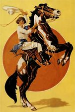 EQUESTRIAN COWGIRL REARING HORSE BACK RIDING VINTAGE CANVAS ART PRINT LARGE