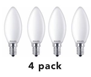 4x Philips LED Candle 6.5w - 60w SES E14 Small Edison Screw NON Dim Light 2700K