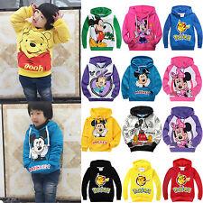 2-10Y Kids Boys Girls Cartoon Hooded Hoodies Sweatshirt Jumper Top Pullover Coat