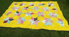 1940s Handmade Quilt Star Pattern Yellow Patchwork Cotton Bating Country Old