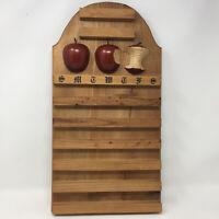 Perpetual Calendar Vintage Wood Display Carved Apples 3D Decor