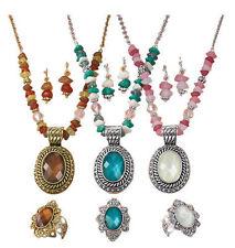 New Avon BROWN & Gold Beaded Chain Medallion Necklace, Earrings, & Ring Gift Set