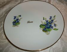 Beautiful Floral Love Plate By Queen Ann USA - Gold Trim, 7 1/2""