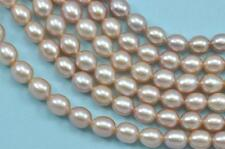 6-7mm Mauve Oyster Pink Rice Oval Teardrop Freshwater Pearls Beads AA