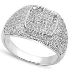 LOVELY CREATED DIAMOND PLATINUM OVER 0.925 STERLING SILVER  MENS RING