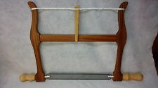 """NEW!Handcrafted 14"""" Woodworkers Bow Saw.Figured Sapele/ Maple Handles and Toggle"""