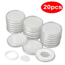20 PCS 46mm Plastic Coin Holder Capsule Storage Case Display Box+5Sizes Pad Ring