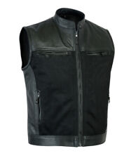 Mens Sons of Anarchy Genuine Perforated Leather Waistcoat Biker Vest soft feel