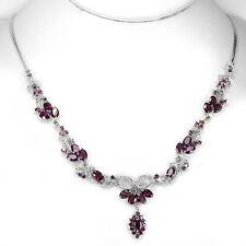 Sterling Silver 925 Genuine Raspberry Rhodolite Garnet Flower Necklace 18 Inch