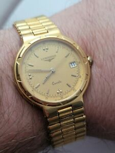 LONGINES Conquest Gold Plated QUARTZ MEN WATCH