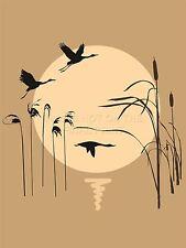 ART PRINT PAINTING ABSTRACT SEASCAPE SILHOUETTE BIRDS REEDS SUN VECTOR LFMP0073