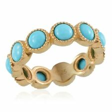 UK M,R SLEEPING BEAUTY TURQUOISE full eternity ring 14K GOLD STERLING SILVER