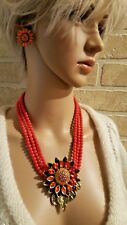 "Heidi Daus "" Divine Miss Daisy"" 3 Row Beaded 18"" Drop Necklace & Earrings"