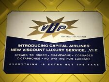 Vintage Capital Airlines VIP Sign 1950's Double Sided