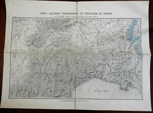 Kingdom of Piedmont c. 1850 detailed topographical map Alessandria Genoa Savoy