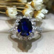 3Ct Oval Cut Simulant Blue Sapphire & Diamond Halo Ring Silver White Gold Finish