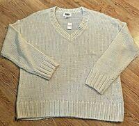 NEW Victoria's Secret PINK V-Neck Beige Soft Cozy Knit Pullover Sweater Sz LRG
