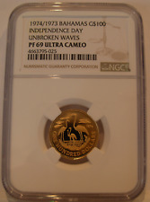 Bahamas 1974/1973 Gold $100 NGC PF69UC Independence Day Unbroken Waves