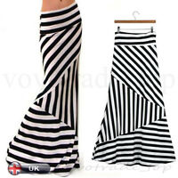 UK Womens Celeb High Waist Striped Pencil Ladies Bodycon Stretch Long Maxi Skirt