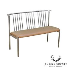 Brody Mid Century Modern Spindle Back Chrome Settee Bench