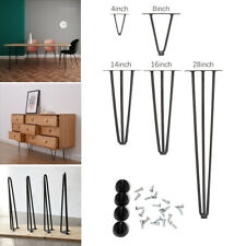 4X Hairpin Legs w/ Floor Protector Feet & Screws for Furniture Bench Desk Table