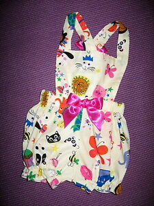 Animals Dungarees set Girls Pink white Check Short Bloomers baby Gift Holiday UK