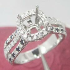6x6mm Cushion Cut Solid 18kt 750 White Gold Natural Diamond Semi Mount Ring