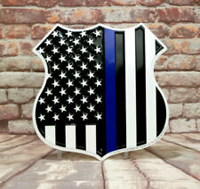 Thin Blue Line Shield Embossed Aluminum Sign Support Your Local Police
