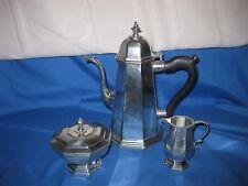 PEWTER COFFEE TEA POT WITH SUGAR AND CREAMER SET JOSTENS & LENOX KIRK STIEFF