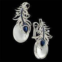 925 Silver Moonstone&Blue Sapphire Ear Dangle Earrings Women Prom Jewelry Gift