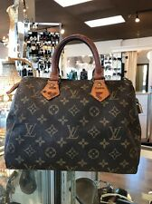LOUIS VUITTON BROWN TAN MONOGRAM SPEEDY 25 DESIGNER HANDBAG TOTE BAG AUTH $950