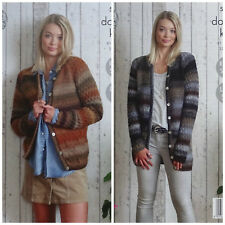 KNITTING PATTERN Ladies Long Sleeve Textured Cardigan & Jacket DK King Cole 5020