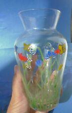 VTG Vintage Decorative Decor Hand Painted Flowers Butterfly pattern Glass VASE