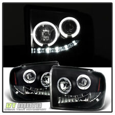 Blk Smoke 2005-2007 Ford F250 F350 F450 LED Halo Projector Headlights Left+Right