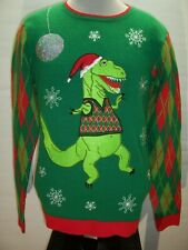 JOLLY SWEATERS medium Dinosaur Ugly Christmas Sweater Combine ship Discount