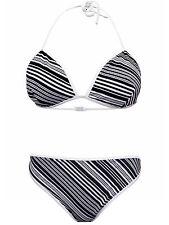 New NEXT Girls Black White Stripe Bikini Swimwear 13-14 yrs Holiday Summer
