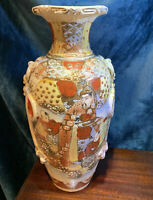 Large Antique Japan Moriage Satsuma Pottery Vase Immortals Spiritual Gods SIGNED