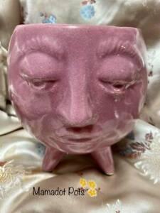 Purple Head Face Head with Feet Ceramic Planter Pot