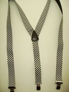 """1.5"""" & 2"""" Y  BLK & White CHECKERED MEN'S SUSPENDERS, swivel SNAPS. Made in USA"""