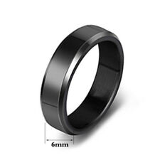 6mm 316L Stainless Steel Band Jewelry Women's Men Black/Gold/Silver Ring Sz 5-13