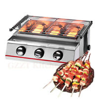 3Burners LPG Gas BBQGrill Outdoor Barbeque Cooker Tabletop Charbroiler Smokeless